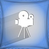 Videocamera. Flat modern web button   on a flat geometric abstract background