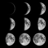 9 phases of the moon, lunar on dark night sky, black space, black background