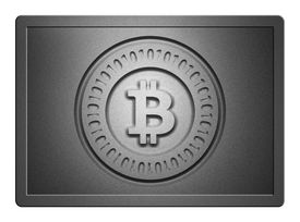 foto of bronze silver gold platinum  - Silver plate with bitoin logo stamp on it and clippingpath for white background - JPG