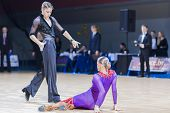Professional belarussian dance couple of Shmidt Danila and Gumenyuk Alina performs Youth-2 Latin-Ame