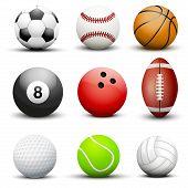 Set of most popular sport balls.