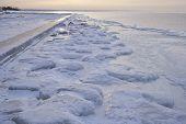 Sea coast in winter.