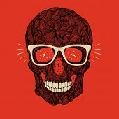 stock photo of gold tooth  - vector funny candy black skull with glasses and teeth on red background - JPG