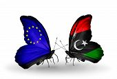 Two Butterflies With Flags On Wings As Symbol Of Relations Eu And Libya