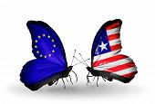 Two Butterflies With Flags On Wings As Symbol Of Relations Eu And Liberia