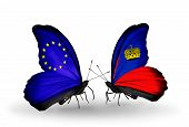 Two Butterflies With Flags On Wings As Symbol Of Relations Eu And Liechtenstein