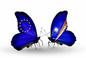 Two Butterflies With Flags On Wings As Symbol Of Relations Eu And Marshall Islands