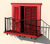 Red Balcony In Strong Summer Light