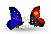 Two Butterflies With Flags On Wings As Symbol Of Relations Eu And Papua New Guinea