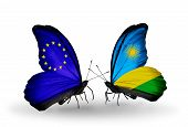 Two Butterflies With Flags On Wings As Symbol Of Relations Eu And Rwanda