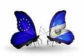 Two Butterflies With Flags On Wings As Symbol Of Relations Eu And Salvador