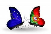 Two Butterflies With Flags On Wings As Symbol Of Relations Eu And Portugal