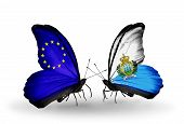Two Butterflies With Flags On Wings As Symbol Of Relations Eu And San Marino