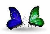 Two Butterflies With Flags On Wings As Symbol Of Relations Eu And Saudi Arabia