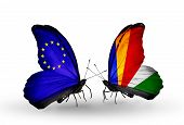 Two Butterflies With Flags On Wings As Symbol Of Relations Eu And Seychelles