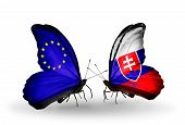 Two Butterflies With Flags On Wings As Symbol Of Relations Eu And Slovakia