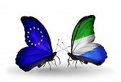 Two Butterflies With Flags On Wings As Symbol Of Relations Eu And Sierra Leone