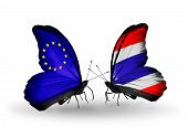 Two Butterflies With Flags On Wings As Symbol Of Relations Eu And Thailand