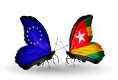 Two Butterflies With Flags On Wings As Symbol Of Relations Eu And Togo