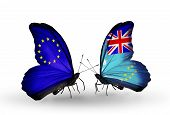 Two Butterflies With Flags On Wings As Symbol Of Relations Eu And Tuvalu