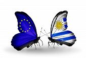 Two Butterflies With Flags On Wings As Symbol Of Relations Eu And Uruguay