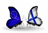 Two Butterflies With Flags On Wings As Symbol Of Relations Eu And Finland