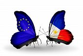 Two Butterflies With Flags On Wings As Symbol Of Relations Eu And Philippines
