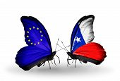 Two Butterflies With Flags On Wings As Symbol Of Relations Eu And Chile