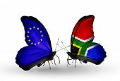 Two Butterflies With Flags On Wings As Symbol Of Relations Eu And South Africa