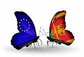 Two Butterflies With Flags On Wings As Symbol Of Relations Eu And Sri Lanka