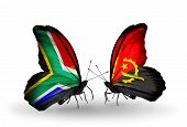 Two Butterflies With Flags On Wings As Symbol Of Relations South Africa And Angola