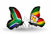 Two Butterflies With Flags On Wings As Symbol Of Relations South Africa And Zimbabwe