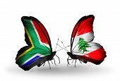 Two Butterflies With Flags On Wings As Symbol Of Relations South Africa And Lebanon