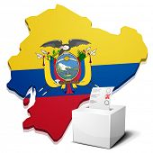 detailed illustration of a ballotbox in front of a map of Ecuador, eps10 vector