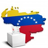 detailed illustration of a ballotbox in front of a map of Venezuela, eps10 vector
