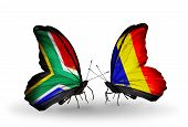 Two Butterflies With Flags On Wings As Symbol Of Relations South Africa And Chad, Romania