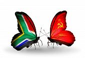 Two Butterflies With Flags On Wings As Symbol Of Relations South Africa And Soviet Union