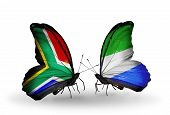 Two Butterflies With Flags On Wings As Symbol Of Relations South Africa And Sierra Leone