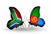 Two Butterflies With Flags On Wings As Symbol Of Relations South Africa And Eritrea
