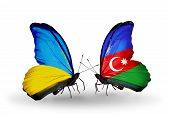 Two Butterflies With Flags On Wings As Symbol Of Relations Ukraine And Azerbaijan