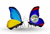 Two Butterflies With Flags On Wings As Symbol Of Relations Ukraine And Belize