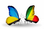 Two Butterflies With Flags On Wings As Symbol Of Relations Ukraine And Kongo