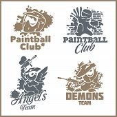 Paintball emblem and logo - vinyl-ready vector set