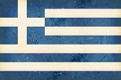 Vintage style flag of Greece. Grunge Elements give it an used and dirty feeling. Hoist (width) / Fly (length) of the flag = 2 to 3