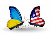 Two Butterflies With Flags On Wings As Symbol Of Relations Ukraine And Liberia