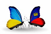 Two Butterflies With Flags On Wings As Symbol Of Relations Ukraine And Liechtenstein
