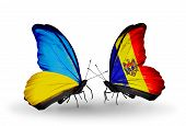 Two Butterflies With Flags On Wings As Symbol Of Relations Ukraine And Moldova
