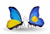 Two Butterflies With Flags On Wings As Symbol Of Relations Ukraine And Palau
