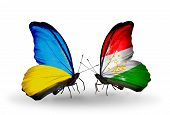 Two Butterflies With Flags On Wings As Symbol Of Relations Ukraine And Tajikistan