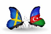 Two Butterflies With Flags On Wings As Symbol Of Relations Sweden And Azerbaijan